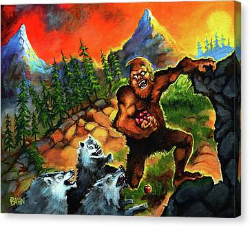 Bahn Canvas Print - Sasquatch Chased By Wolves by Chris Bahn