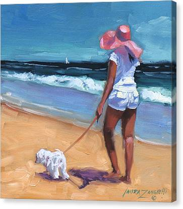 Dog In Landscape Canvas Print - Sassy Jr by Laura Lee Zanghetti