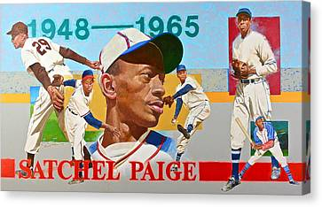Canvas Print featuring the painting Satchel Paige by Cliff Spohn