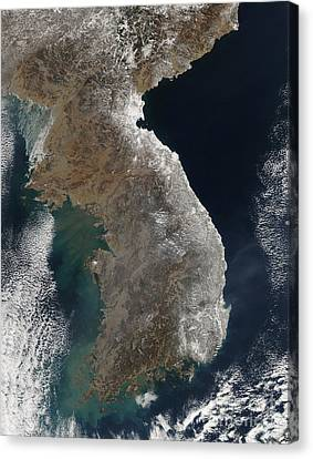 Satellite View Of Snowfall Along South Canvas Print by Stocktrek Images