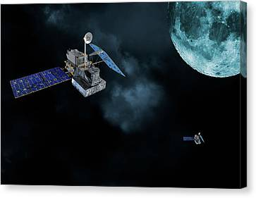 Canvas Print featuring the photograph Satellites In Orbit Around The Moon by Christian Lagereek