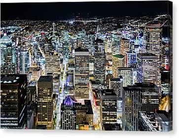 Canvas Print featuring the photograph Seattle Lights by Mihai Andritoiu