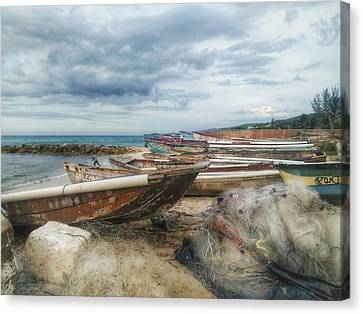 Saturday On A Fishing Beach, Jamaica Canvas Print