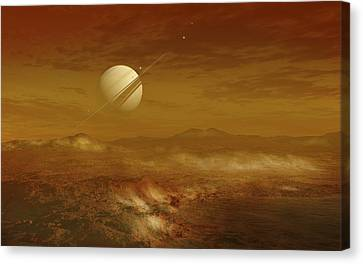 Vista Canvas Print - Saturn Above The Thick Atmosphere by Fahad Sulehria
