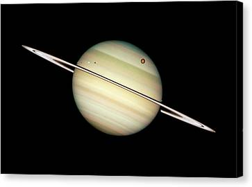 Saturn And Moons Canvas Print by Weston Westmoreland