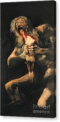 Eat Canvas Print - Saturn Devouring One Of His Children  by Goya