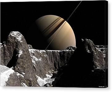 Canvas Print featuring the digital art Saturn Rise by David Robinson