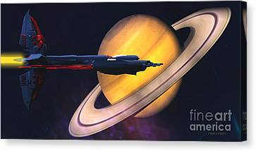 Saturn Visit Canvas Print by Corey Ford