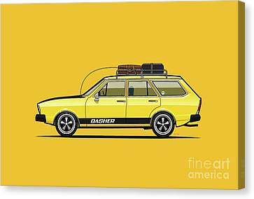 Red Roof Canvas Print - Saturn Yellow Volkswagen Dasher Wagon by Monkey Crisis On Mars