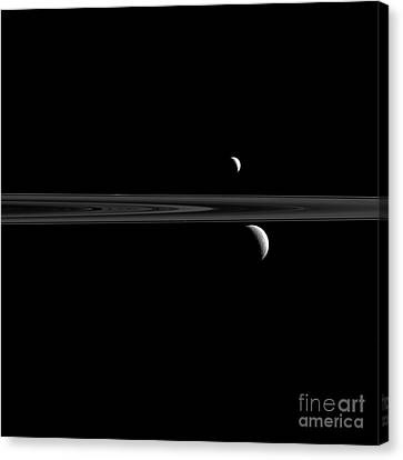 Saturns Moons, Enceladus And Rhea Canvas Print by Science Source