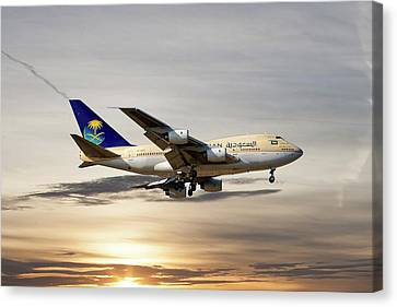 Airlines Canvas Print - Saudi Arabian Government Boeing 747-sp by Nichola Denny