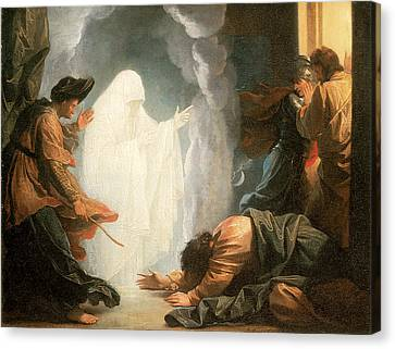 Saul And The Witch Of Endor Canvas Print by Benjamin West