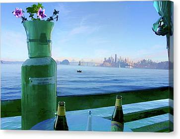 Sausalito Cafe Canvas Print by Michael Cleere