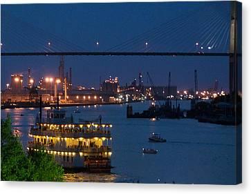 Savannah Harbor At Night Canvas Print by Leslie Lovell