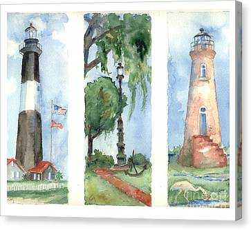 Savannah Lighthouses Canvas Print by Doris Blessington