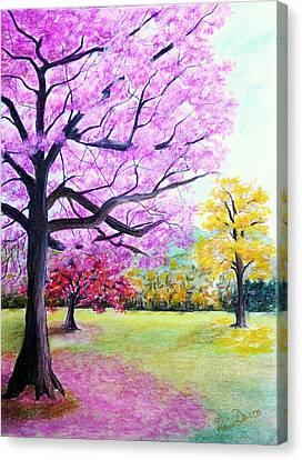Savannah Poui Canvas Print by Karin  Dawn Kelshall- Best