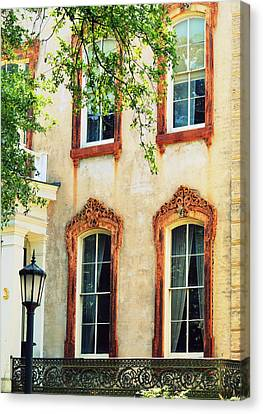 Antique Ironwork Canvas Print - Savannah's Architecture by Linda Covino