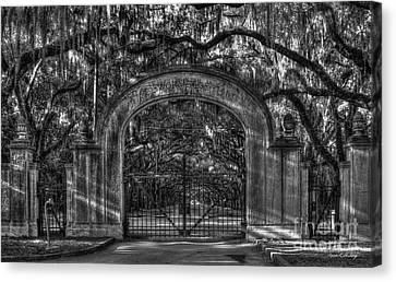Savannah's Wormsloe Plantation Gate Bw Live Oak Alley Art Canvas Print by Reid Callaway