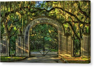Savannah's Wormsloe Plantation Gate Live Oak Alley Art Canvas Print by Reid Callaway