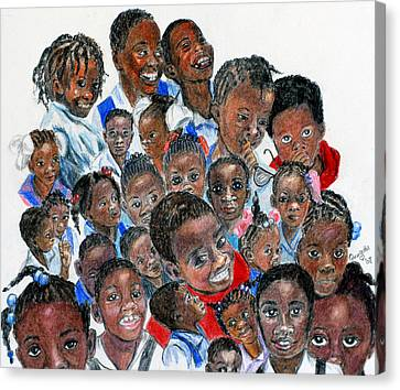 Canvas Print featuring the painting Save The Children by Quwatha Valentine
