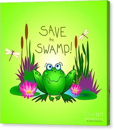Save The Swamp Twitchy The Frog Canvas Print by M Sylvia Chaume