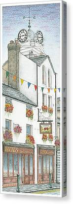 Savings Bank Clock Ulverston Cumbria Canvas Print by Sandra Moore