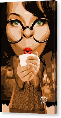 Savvy Sipper Canvas Print by Moxxy Simmons