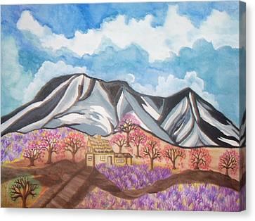 Sawtooth Mountain Farm Canvas Print by Connie Valasco