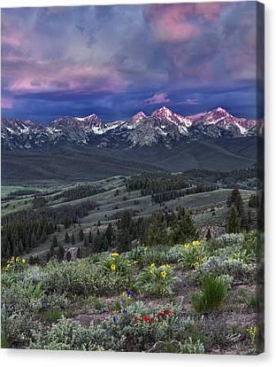 Splendor Canvas Print - Sawtooth Sunrise by Leland D Howard