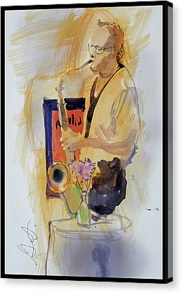 Sax Man Canvas Print by Gertrude Palmer