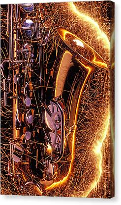 Sax With Sparks Canvas Print by Garry Gay