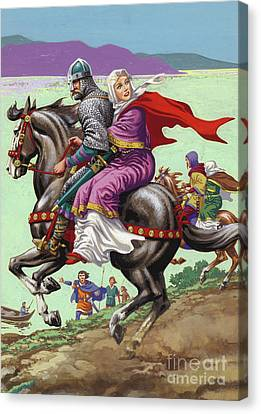 Saxon Princess Margaret Escapes With Her Family From The Clutches Of William The Conqueror  Canvas Print by Pat Nicolle