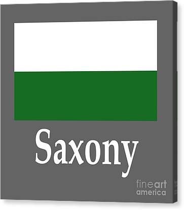 Saxony, Germany Flag And Name Canvas Print