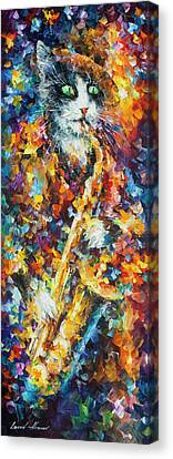 Saxophone Cat   Canvas Print by Leonid Afremov
