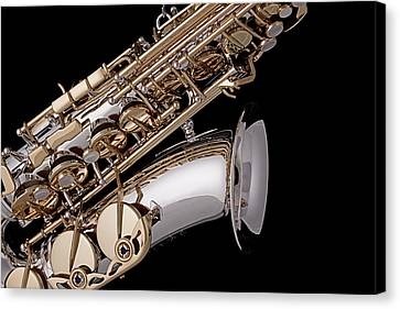 Saxophone Isolated Black Canvas Print by M K  Miller