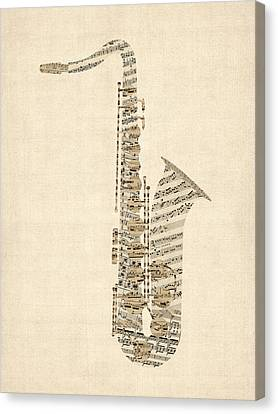 Musical Instrument Canvas Print - Saxophone Old Sheet Music by Michael Tompsett