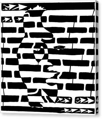 Saxophone Player Or Woman Maze Canvas Print by Yonatan Frimer Maze Artist