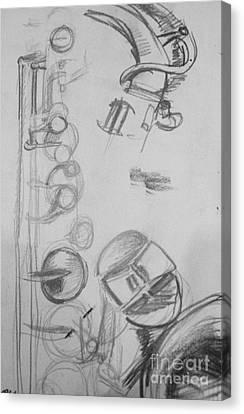 Saxophone Still Life Study Canvas Print by Jamey Balester