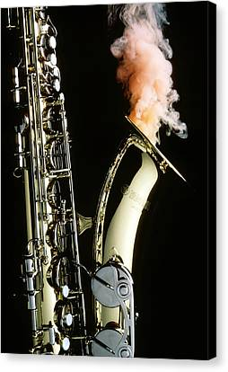 Saxophone With Smoke Canvas Print by Garry Gay