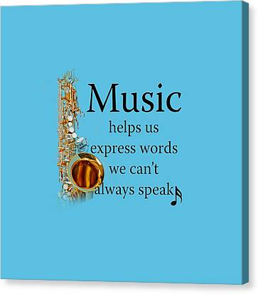 Saxophones Express Words Canvas Print by M K  Miller