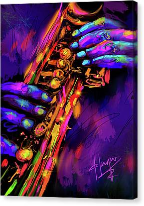 Saxy Hands Canvas Print by DC Langer