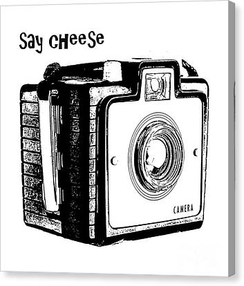 Say Cheese Old Camera T-shirt Canvas Print by Edward Fielding