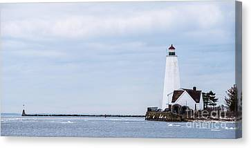 Saybrook Vista - Lighthouse On Long Island Sound Canvas Print by JG Coleman