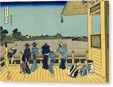 Wooden Platform Canvas Print - Sazai Hall by Hokusai