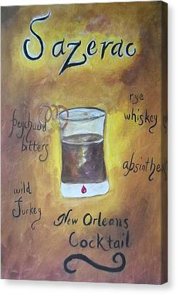 Sazerac Cocktail On Canvas Print - Sazerac by Marian Hebert