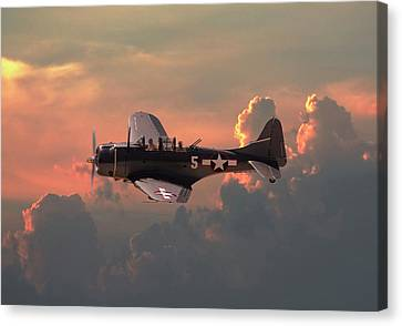 Canvas Print featuring the digital art  Sbd - Dauntless by Pat Speirs