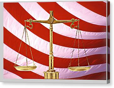 Scales Of Justice American Flag Canvas Print