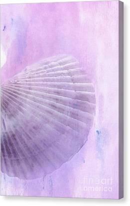 Scallop Sea Shell In Purple Canvas Print by Betty LaRue