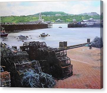 Scarborough Harbour. Canvas Print by Harry Robertson
