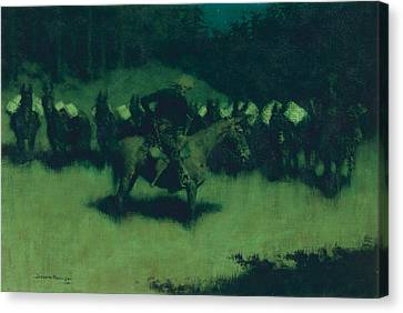 Starlight Canvas Print - Scare In A Pack Train by Frederic Remington